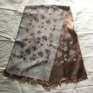 Vintage Accessories - Men's Brown and Silver Reversible Opera Scarf
